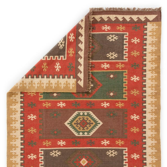 Jaipur Living Amman Handmade Geometric Red/ Gold Area Rug - 5′ × 8′ For Sale - Image 4 of 6