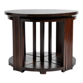 British Colonial Art Deco Round Coffee Table With Four Stools For Sale
