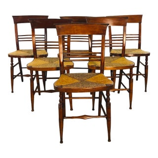 Antique Mahogany Rush Seat Dining Chairs - Set of 6 For Sale