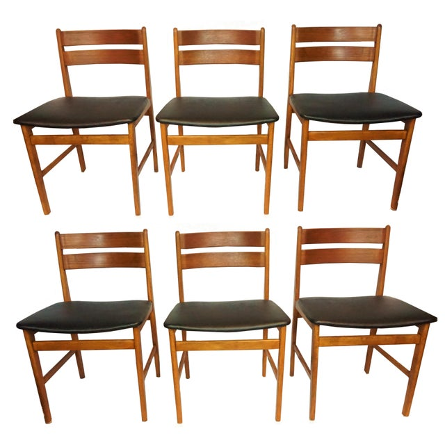 Annette Danish Teak Dining Chairs - Set of 6 - Image 1 of 10