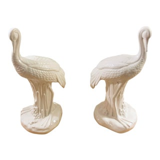 Chelsea House White Ceramic Cranes - a Pair For Sale