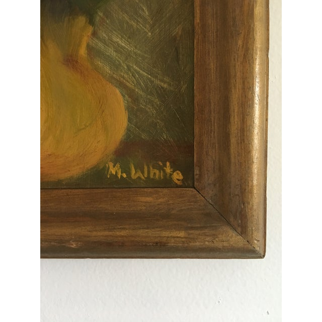 Vintage Floral Still Life Painting on Board For Sale - Image 4 of 8