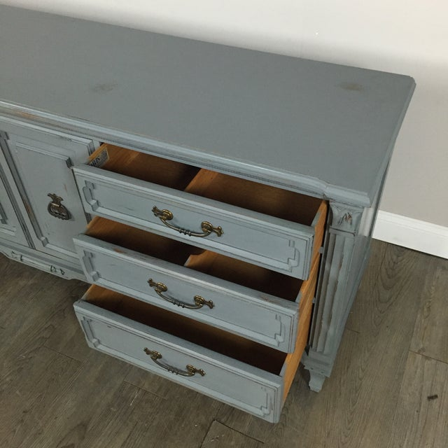 Vintage Gray-Blue Credenza - Image 7 of 11