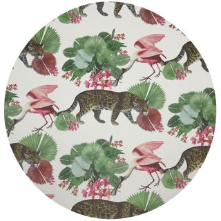 "Nicolette Mayer Leopard Walk Colorful 16"" Round Pebble Placemats, Set of 4 For Sale"