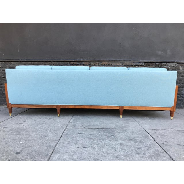 Turquoise Vintage Mid Century Long Sofa For Sale - Image 8 of 13