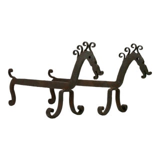 Early 20th Century Hand-Wrought Folk Art Andirons in the Form of Curly Maned Horses - a Pair For Sale