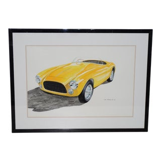 Classic Yellow Ferrari Original Watercolor by Stan Petersen C.1993 For Sale