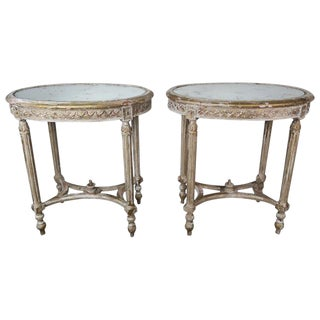 French Louis XVI Style Oval Gold Leaf Tables With Mirrored Tops $4,800 For Sale