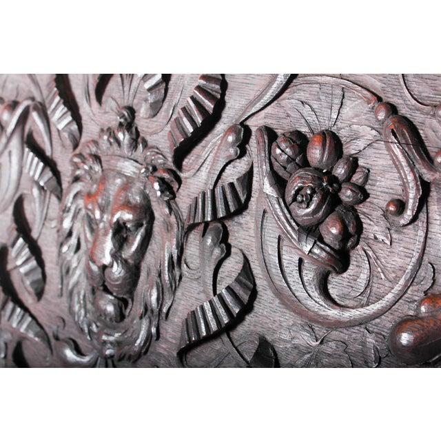 C. 1880 Vanderbilt Mansion Original Hand-Carved Oak Lion Wall Panel For Sale - Image 5 of 11