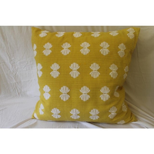 Yellow and White Pillows- A Pair For Sale - Image 4 of 9