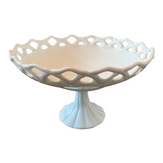 Large Vintage Milk Glass Compote For Sale