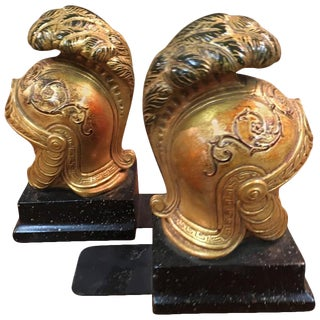 Gilt Roman Galea Bookends by Borghese - A Pair For Sale
