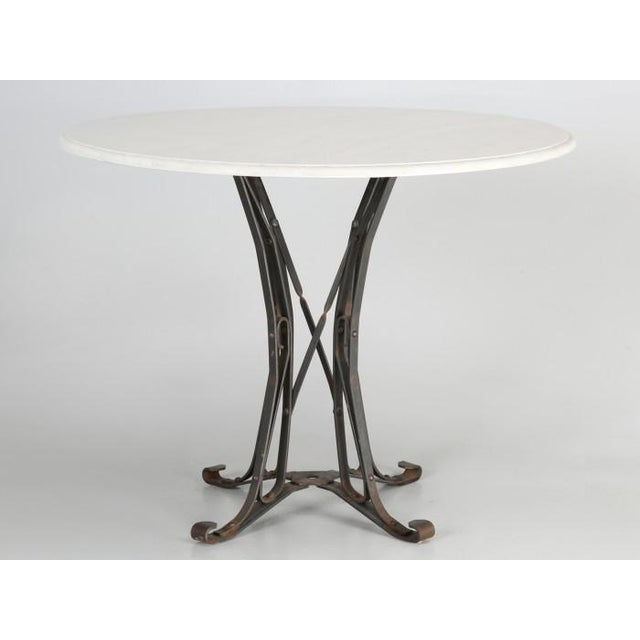 Small French White Faux Marble Top Kitchen or Game Table