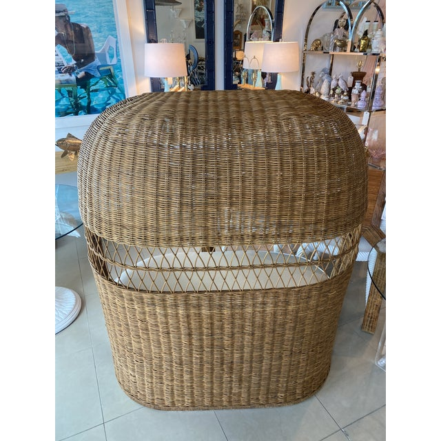 Vintage Wicker and Rattan Newly Upholstered Dome Hooded Loveseat Settee Chair For Sale In West Palm - Image 6 of 13