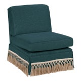 Image of Casa Cosima Skirted Slipper Chair, Ocean For Sale