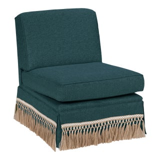 Casa Cosima Skirted Slipper Chair, Ocean For Sale
