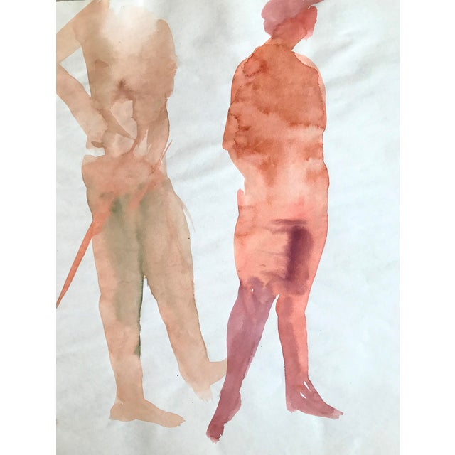 """Thelma Moody 3 Nudes c. 1970's Watercolor on Paper 24"""" x 18"""", Unframed Late 20th century watercolor painting, by artist..."""