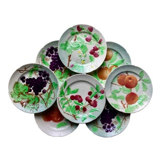 8 St. Clement French Majolica Fruit Plates
