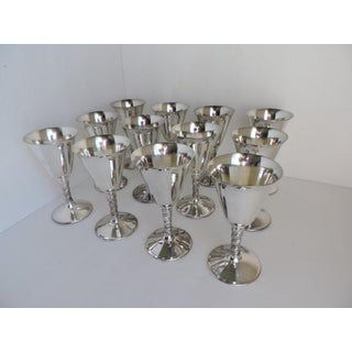 1970s Silver Plate Wine or Sherry Goblets With Grapevine Stems - Set of 12 Preview