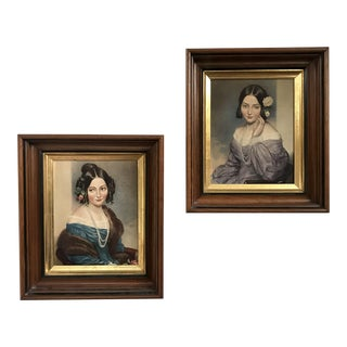 1960s Vintage Wood Framed Female Portrait Prints - A Pair For Sale