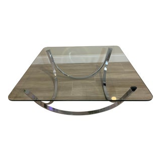 1970s Mid-Century Modern Chrome Coffee Table For Sale