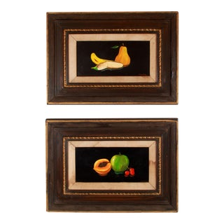 1940s Fruit Still Life Paintings on Black Backgrounds - a Pair For Sale