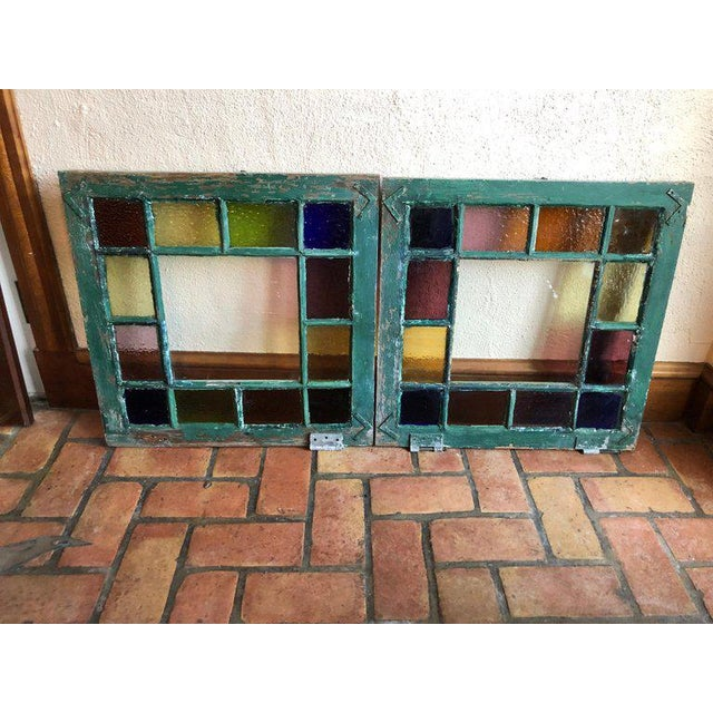 Rustic Stained Glass Windows - a Pair For Sale - Image 3 of 13