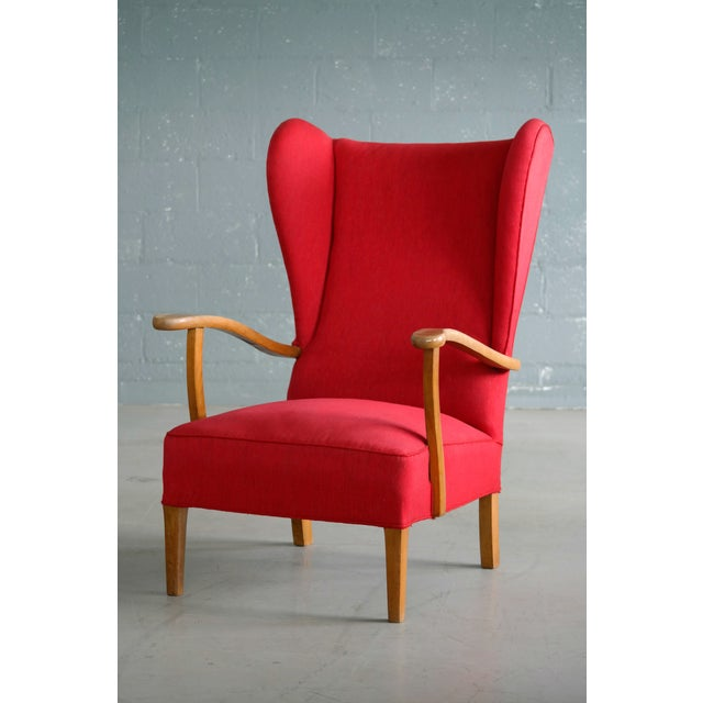 Danish Midcentury Wingback Lounge Chair Attributed to Fritz Hansen For Sale In New York - Image 6 of 10
