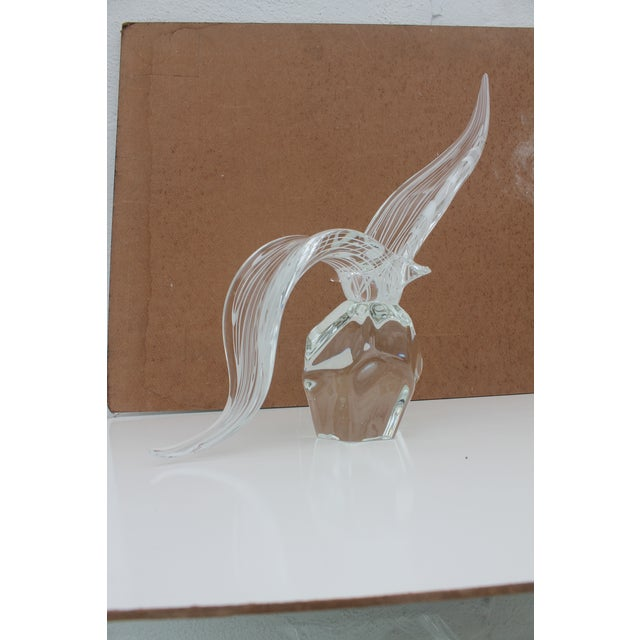 """Vintage Stunning art murano glass bird sculpture , clear and white rendered through """" Sommerso """" technique , signed on the..."""