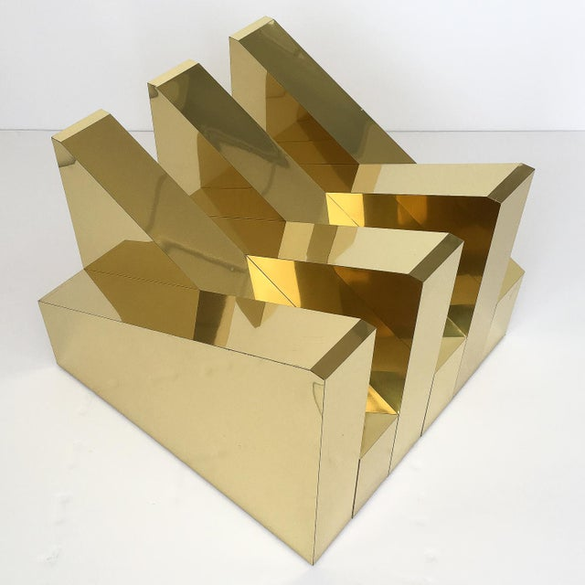 Gold Modern Sculptural Brass Clad Coffee Table For Sale - Image 8 of 13