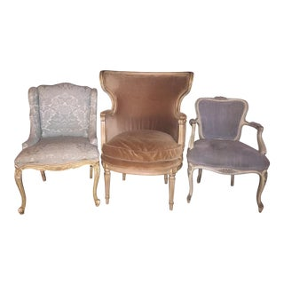 1940s Antique French Style Velvet Wingback and Slipper Chairs- Set of 3 For Sale
