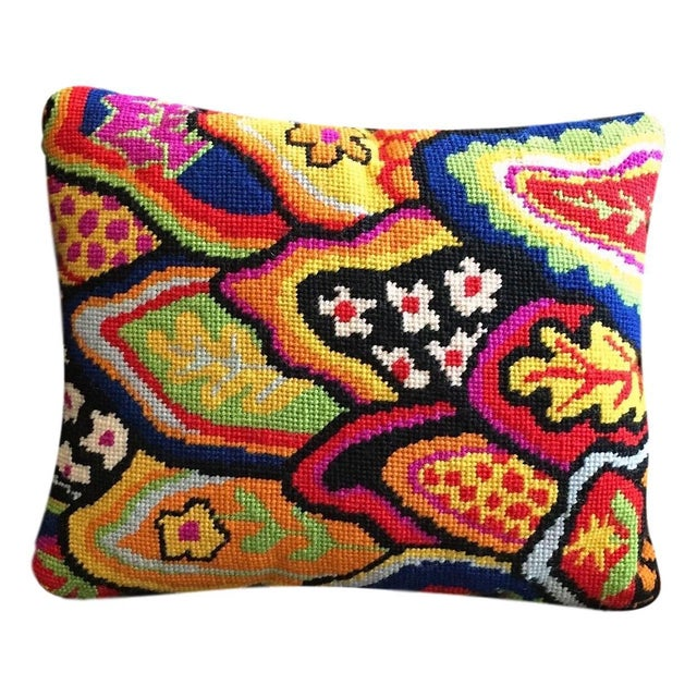 Jonathan Adler Style Multicolor Palm Beach Needlepoint Accent Velvet Pillow - Image 5 of 5