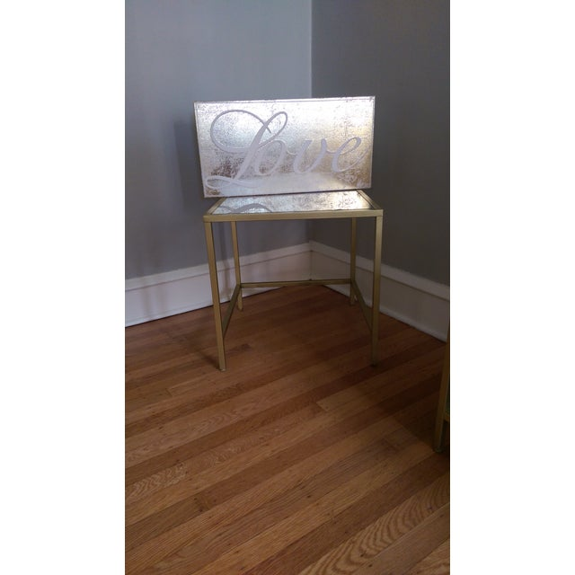 Gold Framed Side Table with Glass Top - Image 3 of 6