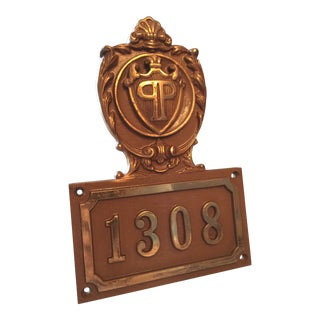 19th Century Americana Door Plaque From the Plaza Hotel NYC For Sale