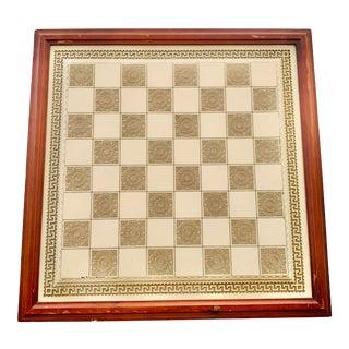 Vintage Greek Key Large Chess Board Framed For Sale