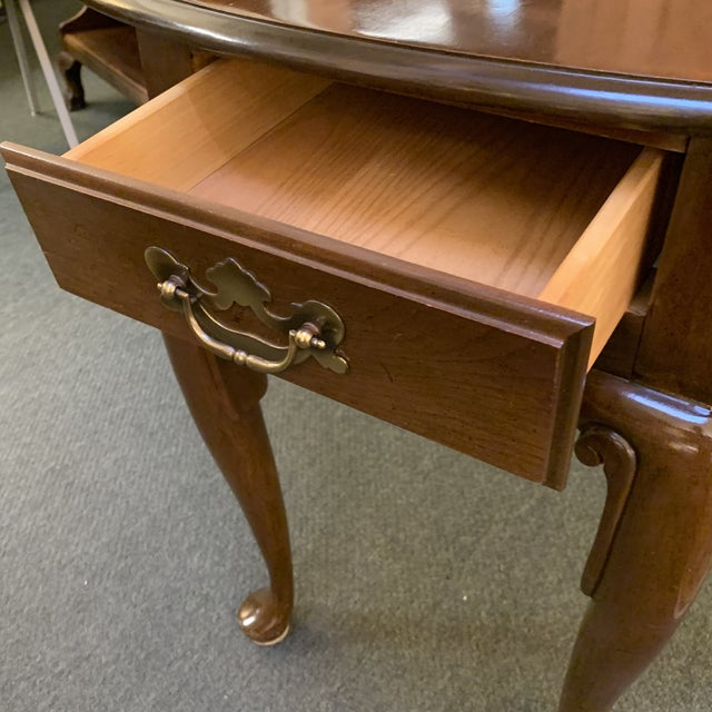 Late 20th Century Queen Anne Style Dropleaf + Drawer Side Table For Sale - Image 5 of 11