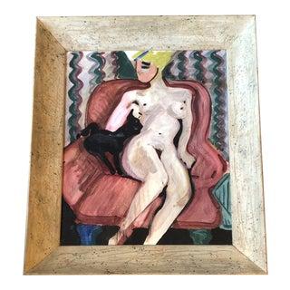 Vintage Modernist Female Nude With Cat Interior Painting Modernist Frame For Sale