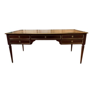Louis XVI Style Leather Top Partners Desk - Early 20th C For Sale