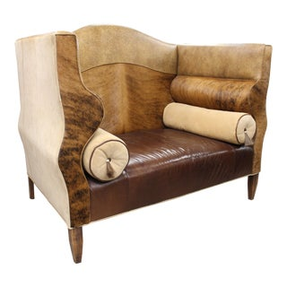 Horse Hair, Leather & Suede Settee/Throne Chair For Sale