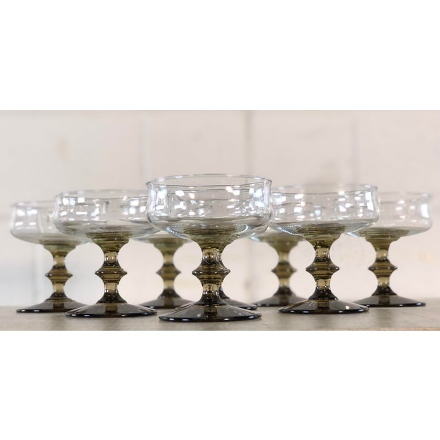 Mid-Century Modern Vintage 1960s Smoked Base Glass Coupe Stems, Set of 8 For Sale - Image 3 of 9