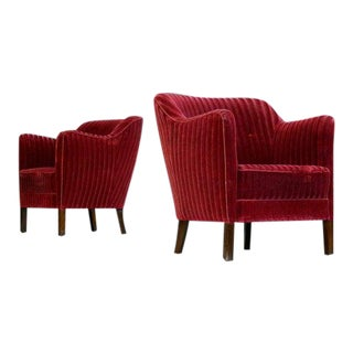 Frits Henningsen Style Danish 1940s Lounge Chairs in Velvet - a Pair