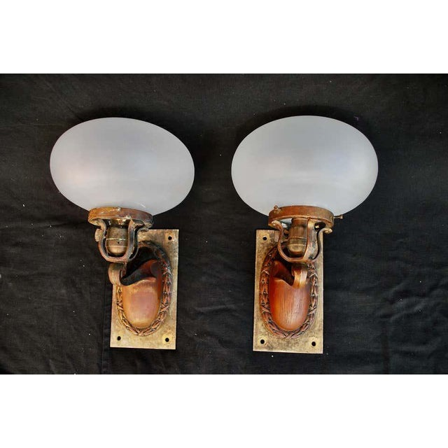 1920s Brass and Glass Outdoor/Indoor Sconces - a Pair For Sale In Los Angeles - Image 6 of 8
