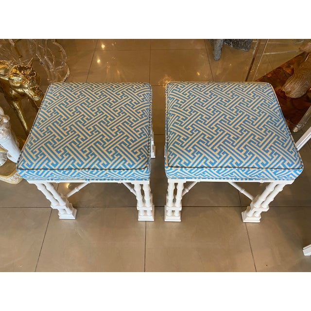 1970s Vintage Palm Beach Faux Bamboo Blue & White Lacquered Greek Key Upholstered Benches Stools -A Pair For Sale - Image 5 of 13