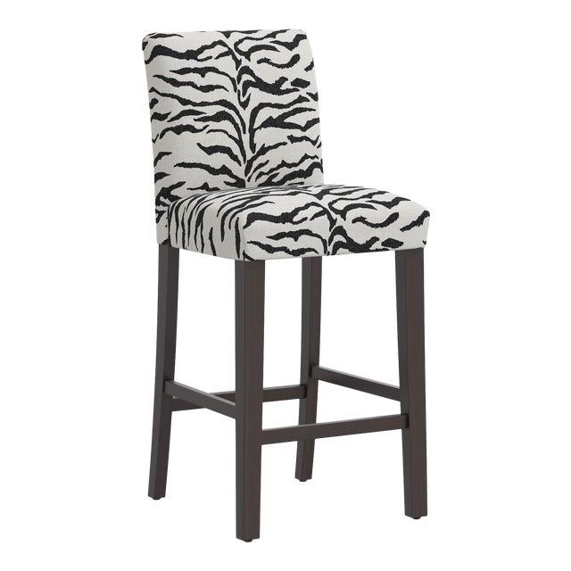 Bar stool in Linen Zebra Cream Black For Sale