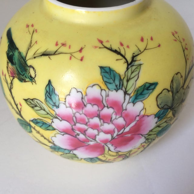Japanese Porcelain Ware Yellow With Pink Flowering Branch and Bird Vase For Sale - Image 10 of 12