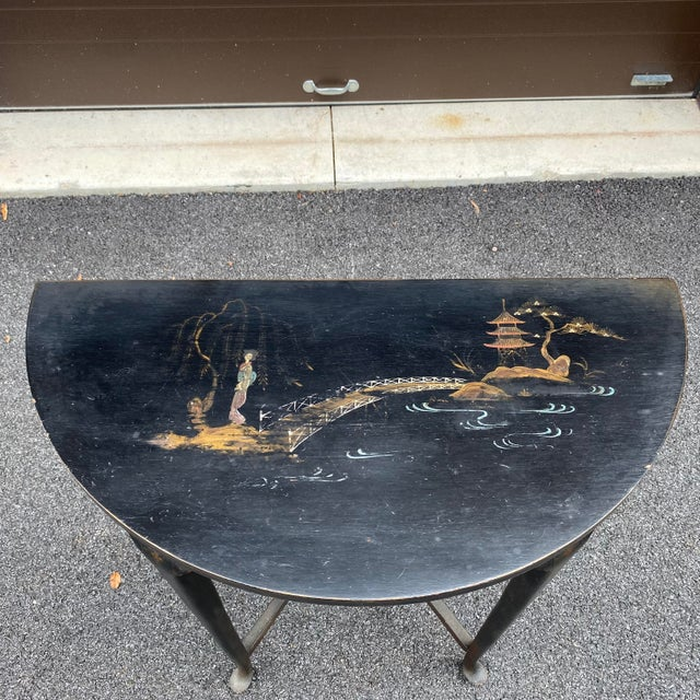 Early 20th Century Antique Chinoiserie Demilune Accent Table For Sale - Image 5 of 13