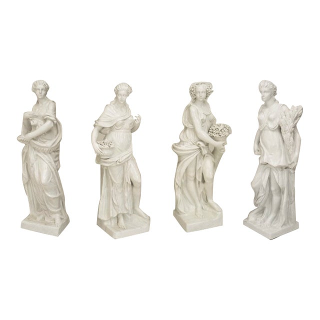 Set of 4 Large Italian Neoclassical Allegorical Figures, Circa 1850 For Sale