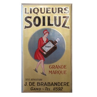 Original 1927 Belgian Art Deco Tin Liqueur Soiluz For Sale