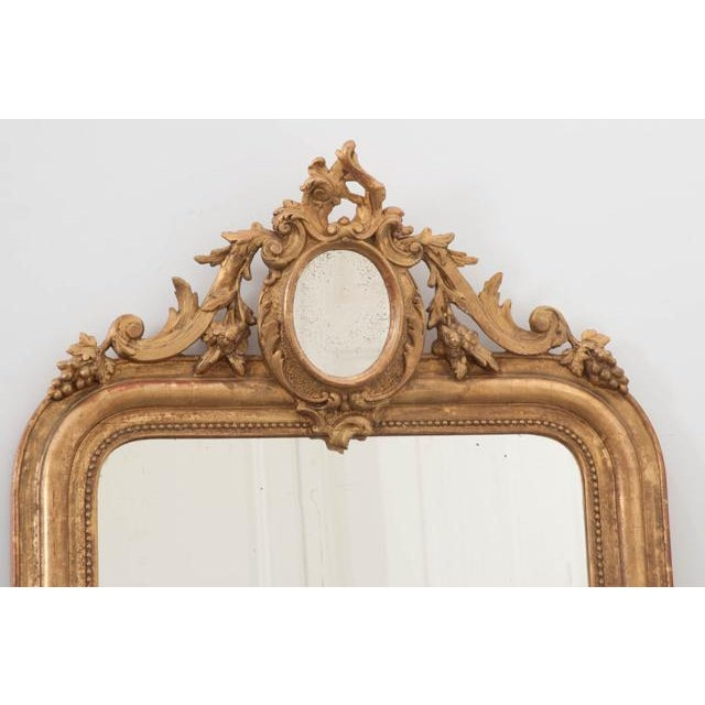 French 19th Century Ornately Carved Giltwood Over-Mantle Mirror For Sale In Baton Rouge - Image 6 of 13