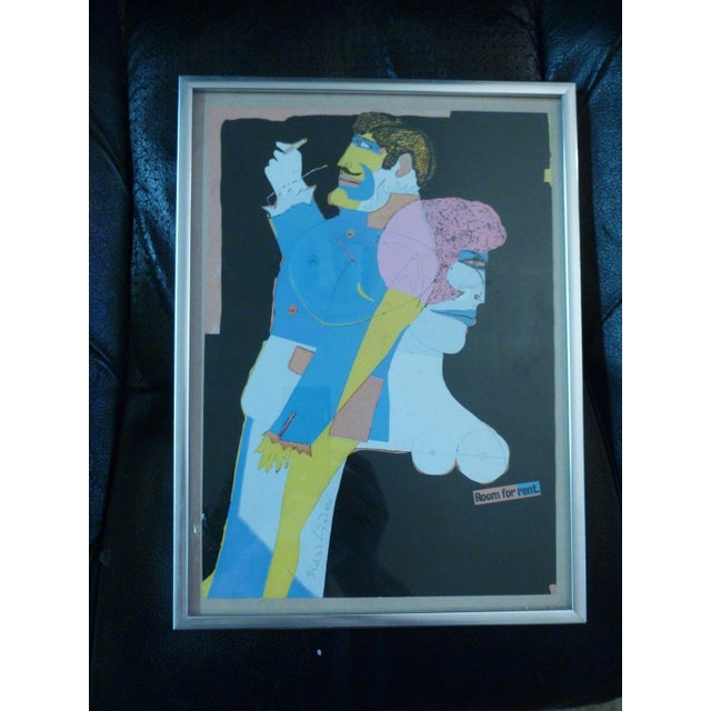 """Paper """"Room for Rent"""" Signed Mixed Media Collage on Paper by Richard Lindner For Sale - Image 7 of 7"""